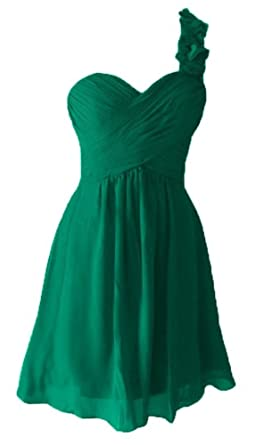 c0c04b88461aa Honeydress Women's Flower One Shoulder Padded Ruffles Short Bridesmaid Dress  Green