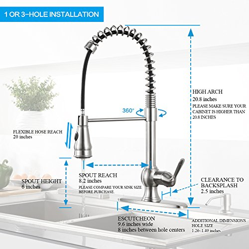 Kitchen Faucet With Spring Pull Down Sprayer And Support