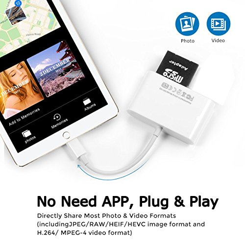 Conlesy SD Card Reader, 4 in 1 Lightning to USB Camera SD/TF Card Reader for iPhone and iPad, Trail Game Camera SD Card Reader (White) by Conlesy (Image #5)