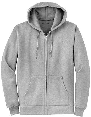 Joe's USA Full Zipper Hoodies - Hooded Sweatshirts Size 5XL, Ash ()