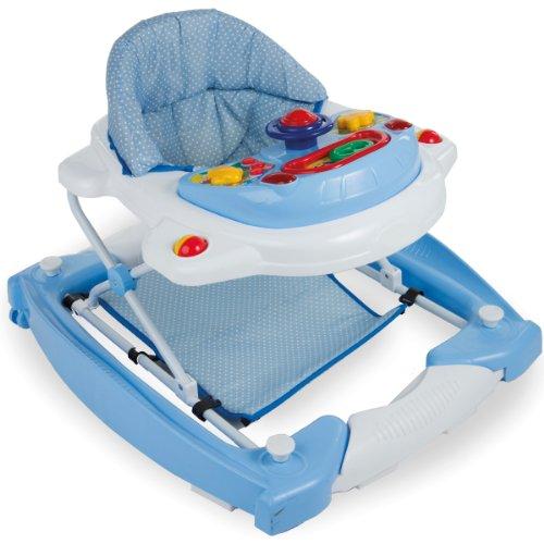 3IN1 Lauflernhilfe mit Spielcenter (12 Melodien) Gehfrei Gehhilfe Baby Walker Babyschaukel (Blau/Weiß)