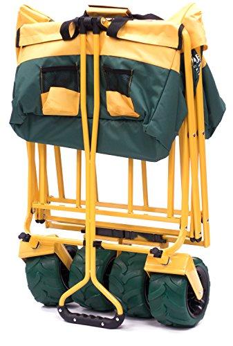 Creative Outdoor Distributor All-Terrain Folding SPORTS Team Wagon, (Green-Yellow/GreenWheels) 900555 - Multipurpose Cart for Gardening, Camping, Beach Trips, and Travelling by Creative Outdoor Distributor (Image #4)