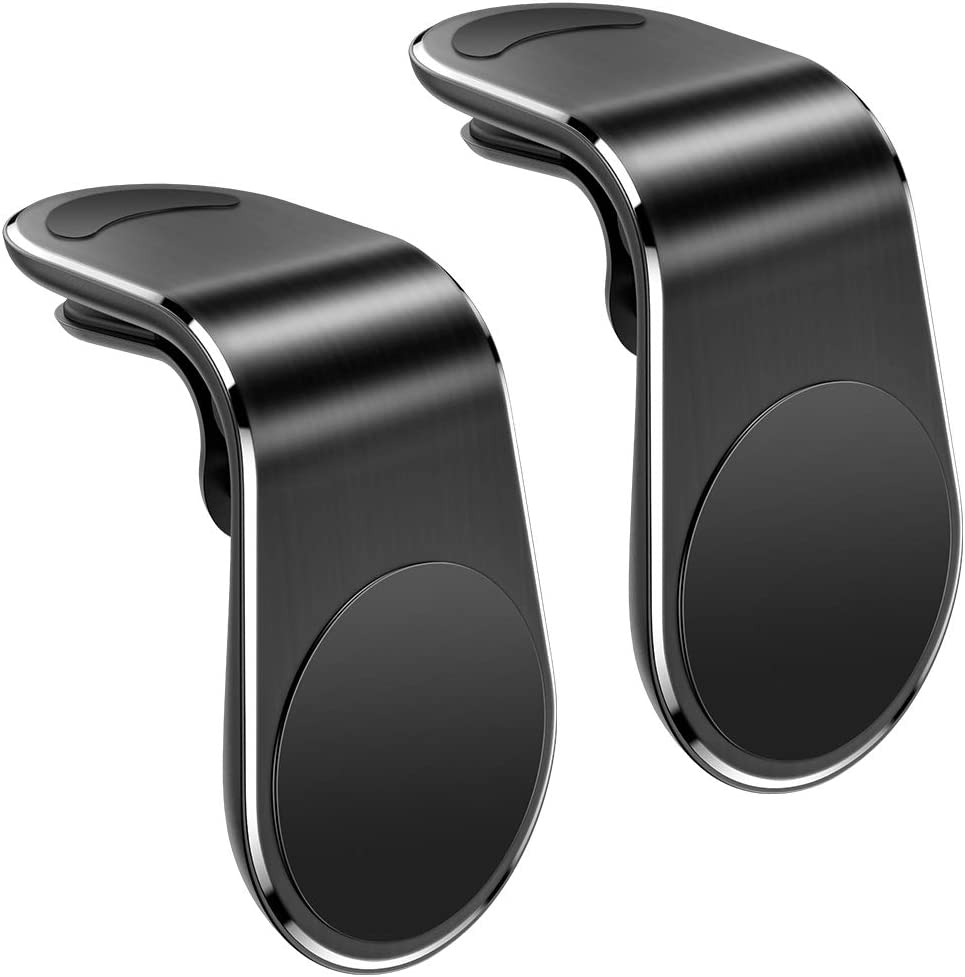 UIHOL Soporte Movil Coche 2 Unidades, Soporte Movil Coche Magnético para Ventilación Duradero Mini Iman Soporte Teléfono Coche Universal con Rejillas del Aire para iPhone Samsung Huawei Smartphone
