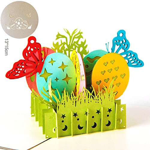 Paper Spiritz Butterfly And Easter Eggs 3D Pop up Greeting Card Postcard Matching Envelope Laser Cut Handmade Happy New Year Birthday Post Card Spring Festival Valentine's Day Gift(Pack of 1)