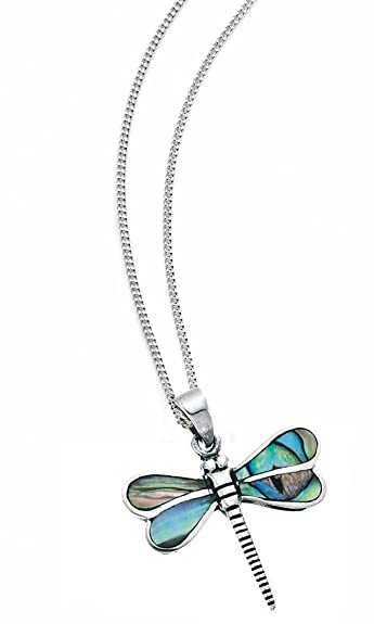 Elements Sterling Silver Ladies P4035T Dragonfly Blue Enamel Locket of 46cm o4zJZe3Nx