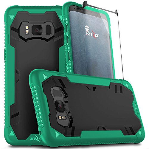 Zizo Proton 2.0 Series Compatible with Samsung Galaxy S8 Plus Case Military Grade Drop Tested with Tempered Glass Screen Protector Green Black