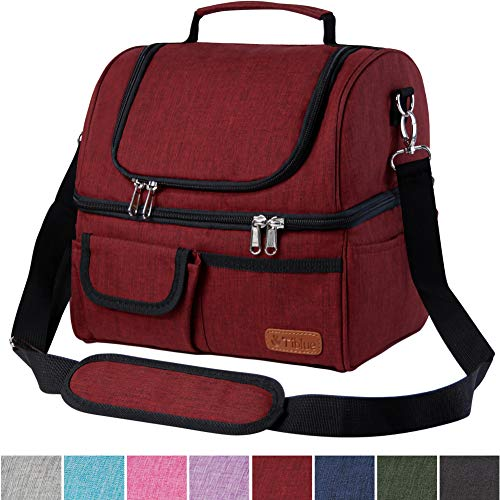 Insulated Lunch Bag Dual Compartment, Leakproof 22 Can Extra Large Lunch Box for Women Men, Roomy Reusable Thermal Cooler Bag with Detachable Strap for School Office Outdoor Activities, Wide Open