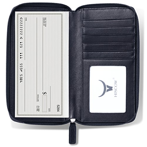 HISCOW Zippered Checkbook Cover & Card Holder with Divider - Italian Calfskin (Black)
