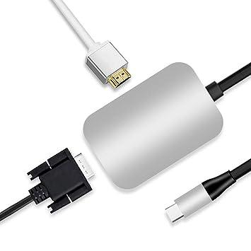 Amazon.com: iSKY USB C to HDMI + VGA, to HDMI 4K+VGA Adapter ...
