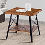 """Olee Sleep 24"""" Solid Wood & Dura Metal Legs Coffee Table/Tea Table/End Table/Side Table/Office Table/Computer Table/Vanity Table/Dining Table/Basic Item at Home, Rustic Brown"""