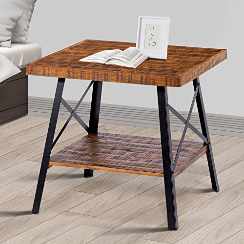 "Olee Sleep 24"" Solid Wood & Dura Metal Legs Coffee Table/Tea Table/End Table/Side Table/Office Table/Computer Table/Vanity Table/Dining Table/Basic Item at Home, Rustic Brown -"