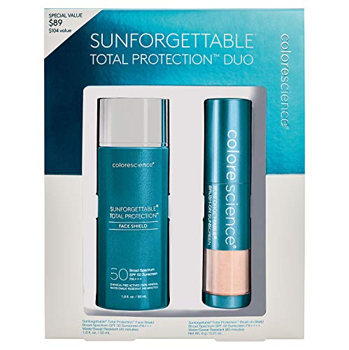 Colorescience Sunforgettable Total Protection Mineral Sunscreen Duo Kit - Face Shield SPF 50 & Brush-On Sunscreen SPF 50 in Medium Shade (Colorscience Sunforgettable Brush On Sunscreen With Spf)