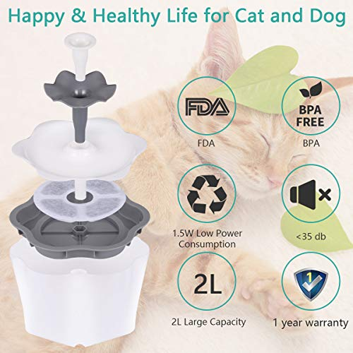 Cat Water Fountain with Filter 2L Intelligent Power Off Removable Washable Pump, Pet Water Dispenser Automatic Drinking Fountains for Cats Dogs Small Animals