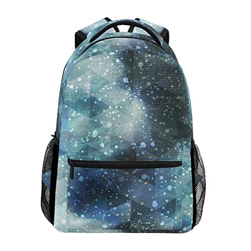 Large Travel Outdoor Sports Laptop Backpack Water Resistant for Women & Men College School Triangle Geometry Night Sky