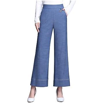 Nuevo Tencel Jeans Mujer Cintura alta Nueve puntos Pantalón ...