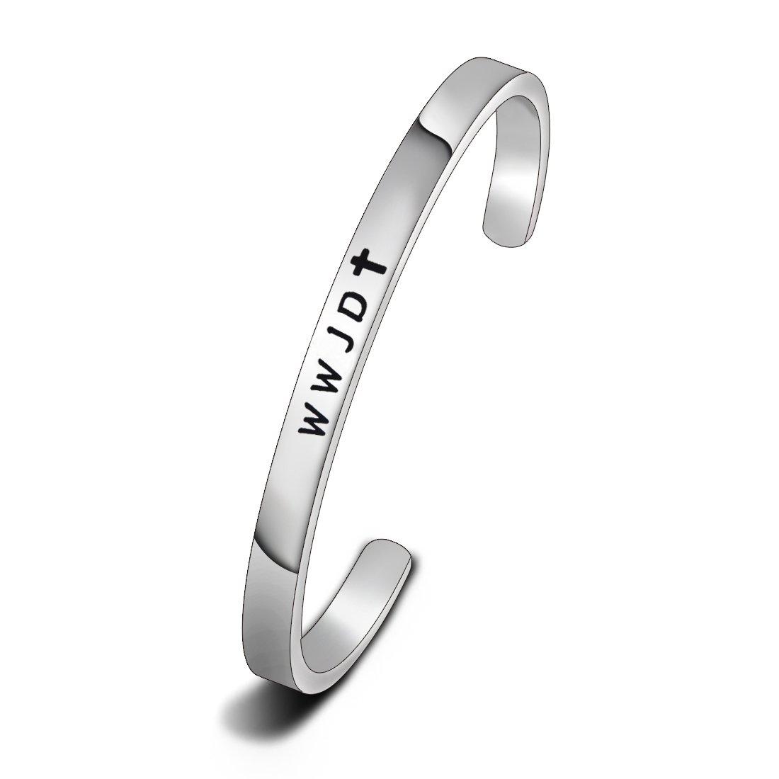 WUSUANED Religious Jewelry WWJD Cross Cuff Bracelet Bangle First Communion Gift (WWJD)