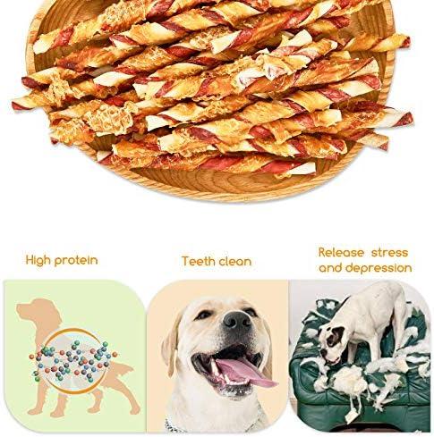 Jungle Calling Comida Perros, Golosinas para Perros Franja de Carne de Pollo con Cuero de Vacuno Sticks Dentales Perro Alta Proteína Suplemento de ...