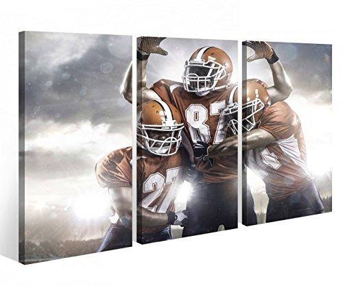 Leinwandbild 3 Tlg American Football Touchdown Sport Leinwand Bild Bilder Holz fertig gerahmt 9P771, 3 tlg BxH 120x80cm (3Stk 40x 80cm)