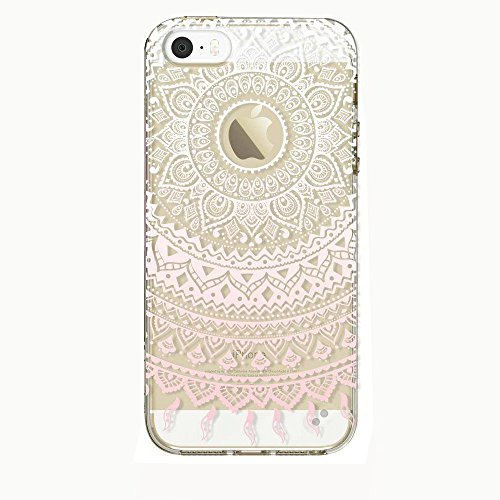 EVERMARKET(TM) iPhone SE/5/5S TPU Case, Flower Floral Beautiful Pattern Soft Rubber TPU Case Cover and 1 Stylus Pen for Apple iPhone SE and 5/5S (Pink Mandala - Clear Stylus Case Phone