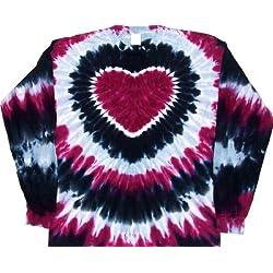 Tie Dyed Shop Prairie Wine Tie Dye Heart Shirt-Longsleeve-XLarge