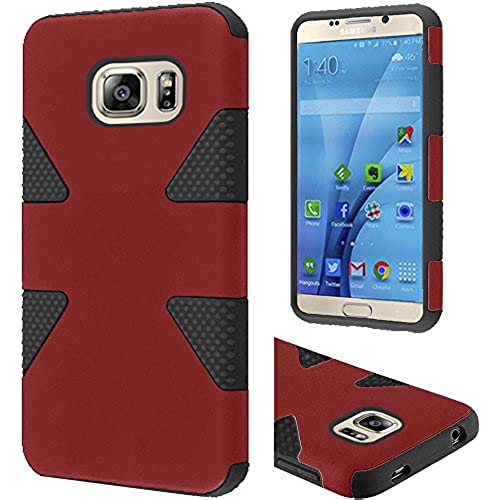 HRWIRELESS(TM) For Samsung Galaxy S7 Dynamic Slim Rugged Hybrid Dual Layer Cover Case (Red Black) Sales