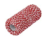 red and white butcher paper - Multifunctional Cotton Bakers Twine String Cord 100m 328 Feet Decorative Bakers Twine Craft Packing Rope Perfect For Baking Butchers DIY Crafts and Gift Wrapping (Red & White)