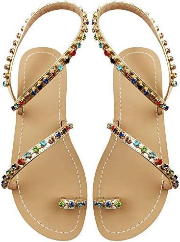 JF shoes Women's Crystal with Rhinestone Bohemia Flip Flops