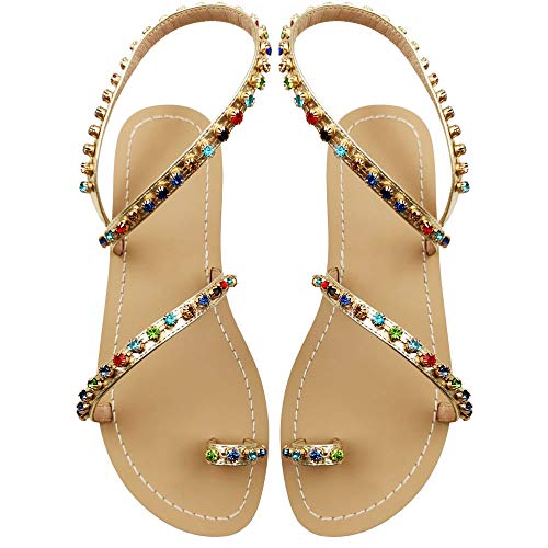 Women's Summer Sparkle Bohemian Rhinestone Toe Ring Beach Slippers Flat Sandals Gold Size 6.5-7