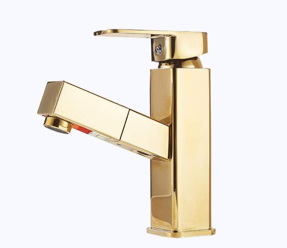Fauceteuropean Copper Pull-Type Hot and Cold Faucet Black Wash Basin Basin Retractable Bathroom Faucet Home