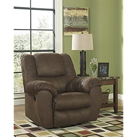 Ashley Quarterback Polyester Rocker Recliner In Canyon