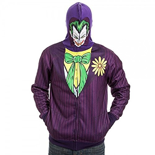 Brand New & Licensed Batman Harley Quinn The Joker Full Zip Mask Hoodie (L) - Harley Quinn Costume Hoodie