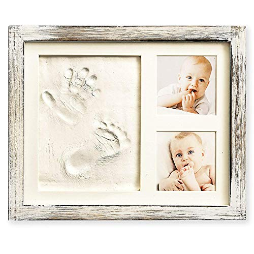 Baby Hand and Footprint Kit in Rustic Farmhouse Frame, a Baby Registry Must Have - Baby Handprint Kit, Baby Footprint Kit, Baby Nursery Decor (Gray)]()