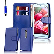 32nd® Book wallet PU leather case cover for Motorola Moto G 3 (3rd Gen / 2015 edition) + screen protector, cleaning cloth and touch stylus - Deep Blue