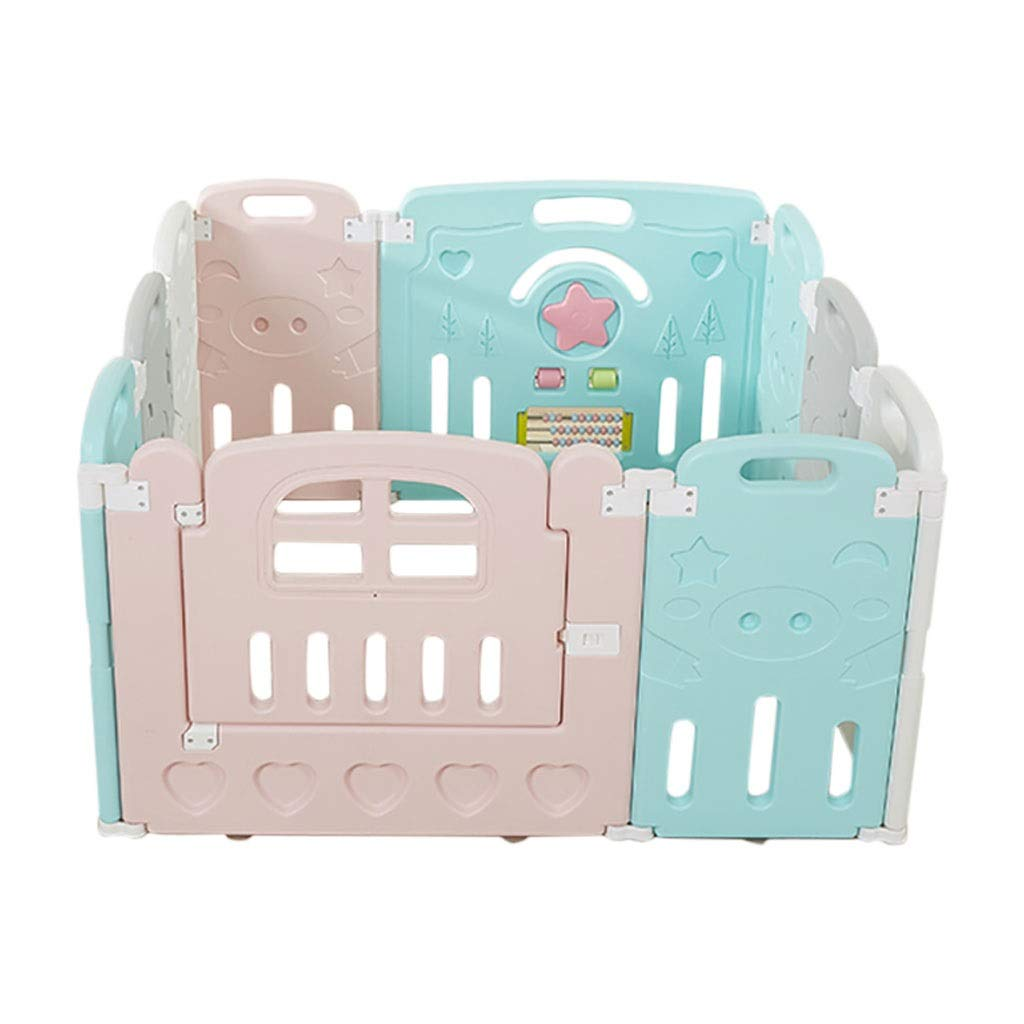 8 small pieces HUYP Baby Playpen Baby Fence Safety Baby Playpen with Door Plastic Baby Playpen Foldable Pink Pet Safety Gate (Size   8 Small Pieces)