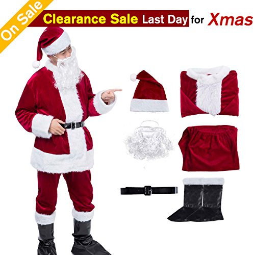 Santa Costumes For Adults (Christmas Santa Claus Costume Santa Suits Santa Costume for Men Adult Costume Wine Red)