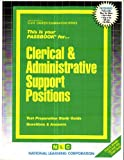 Clerical and Administrative Support Positions, Jack Rudman, 0837303141