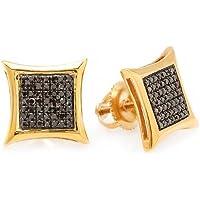 0.25 Carat (ctw) Black Round Diamond Micro Pave Setting Kite Shape Stud Earrings 1/4 CT