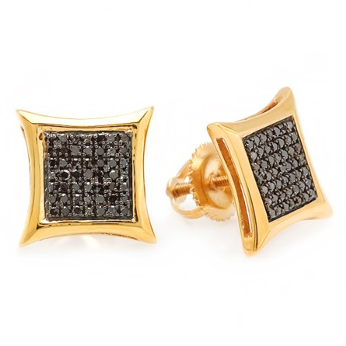 - 0.25 Carat (ctw) 18k Yellow Gold Plated Sterling Silver Black Round Diamond Micro Pave Setting Kite Shape Stud Earrings 1/4 CT
