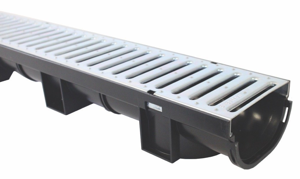 Black Polymer Corner with Black Polymer Grate for Regular Trench Drain US TRENCH DRAIN 83330