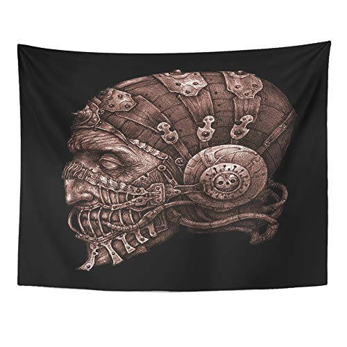 (Emvency Tapestry Wall Hanging Fantastic Character in Helmet Mask Black and White Cyberpunk Steampunk Space Pilot 60