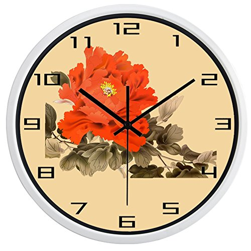 10inch White Metal Frame Ink Painting Peony Picture Silent Non Ticking Glass Quartz Decorative Wall Clock (Wall Peonies Clock Decorative)
