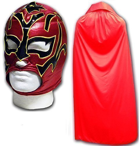 WRESTLING MASKS UK Men's Estrella Fancy Dress Luchador Wrestling Mask With Cape One Size Red by Wrestling