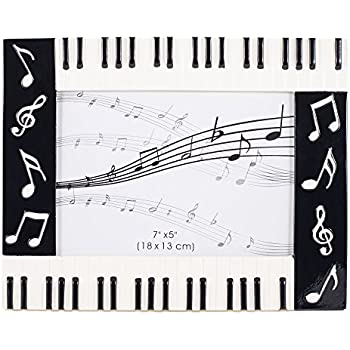piano keyboard musical notes treble clef decorative 5x7 picture frame - Music Note Picture Frame