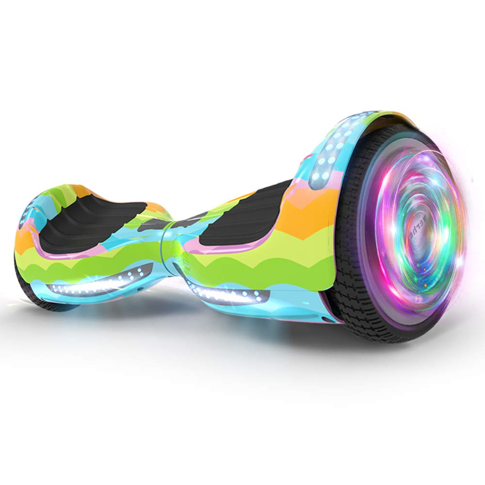 Hoverboard UL 2272 Certified Flash Wheel 6.5'' Wireless Speaker with LED Light Self Balancing Wheel Electric Scooter (Rianbow Wave)