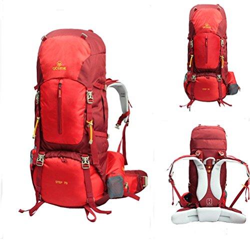 55 / 70L alpinismo al aire libre profesional mochila viaje mochila de camping para mujeres y hombres Red