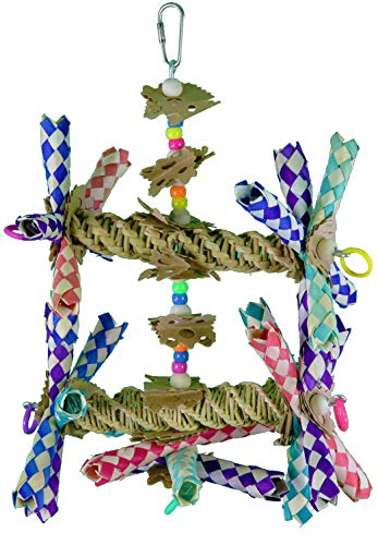 Image of Bonka Bird Toys 1241 Double Helix Parrot cage Cages Cockatiel African Grey Conure Amazon Birds Aviary Big Chew Swing Perches Large Forage
