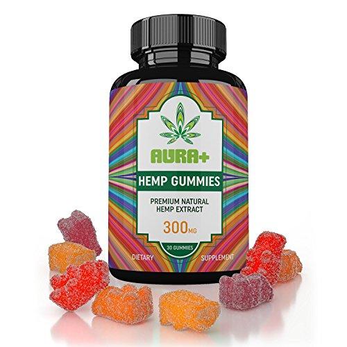AuraPlus Organic Premium Hemp Gummies For Pain Relief - Special Blend With Melatonin - Less Anxiety, Improved Sleep, Reduced Inflammation - Full Spectrum Hemp Gummy Bears - 100% USA Made Hemp Extract