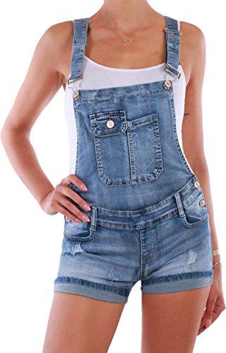 BD Damen Jeans Latzhose blau Latzshorts Hot Pants destroyed