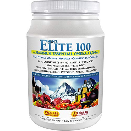 Andrew Lessman Multivitamin – Men's Elite-100 with Maximum Essential Omega-3 1000 mg 120 Packets – 40+ Potent Nutrients, Essential Vitamins, Minerals, Phytonutrients and Carotenoids. No Additives
