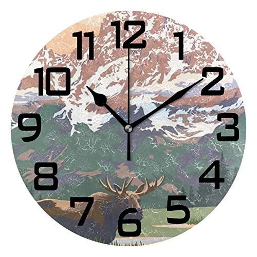 Grand Teton National Park - Moose Mountains Round Acrylic Wall Clock, Silent Non Ticking Battery Decorative Home Kitchen Classroom Office School